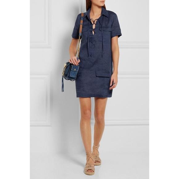 Equipment Dresses & Skirts - Equipment Blue Knox Linen Lace-Up Dress